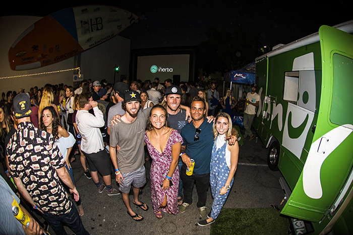 Nothin' but grins on chins for the big screen showing of Holy Meola. Team Sanuk holdin' it down!
